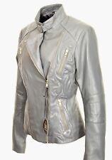 Lederjacke Biker-Jacke ECHT-LEDER in Lammnappa im ELEGANTEN DESIGN grau Damen