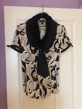 NWT Bebe Size Large Blouse Top Shirt Pink Black Fur Collar Silk Roses Gorgeous!