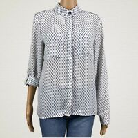 Mosaic & Co Sheer Printed Roll Sleeve Button Up Shirt Blouse LARGE White Blue
