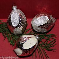 alter Weihnachtsschmuck Christbaumschmuck 3 ZAPFEN  Silber Glimmer Glas CBS