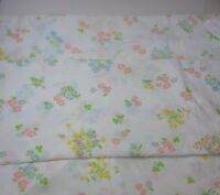Vintage Twin Flat Sheet Fieldcrest Perfection Pink Blue Yellow Floral Percale 2