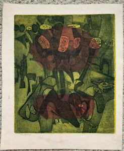 Abraham Hankins 1960 abstract expressionist etching Halibut Point MA Rockport