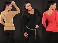 Sexy Maglia DONNA Maglietta T-shirt elegante pullover con fiocco moda inverno