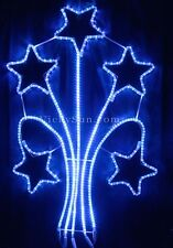 Animated 140CM LED 5 Meteor Stars Blue Christmas Motif Rope Lights