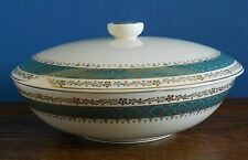 """A Vintage Crown Ducal 9"""" Tureen Warwick pattern green blue band with gilt"""