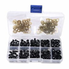 100 PCS 6-12MM BLACK PLASTIC DIY TEDDY BEARS DOLLS ECT,IN ITS OWN CONTAINER.