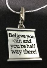 Silver Plated Dipped 24in Necklace & Pendant Believe You Can Ladies Gift J541