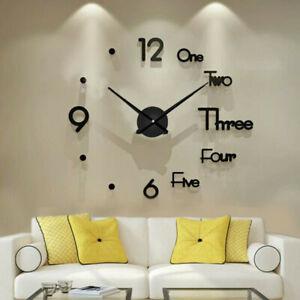 DIY Large Wall Clock Frameless Mirror Number Sticker Modern Art Decal Decor NEW