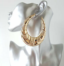 Gorgeous HUGE gold tone chunky patterned creole hoop earrings *Improved quality*
