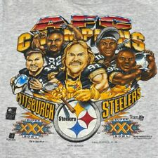 Vintage Delta Men's 90s 1995 Pittsburgh Steelers AFC Champs T Shirt Size Large