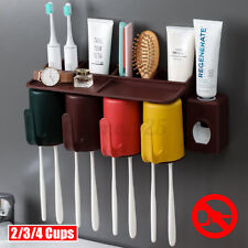 2/3/4 Cups Toothbrush Holder Rack Toothpaste Extruder Dispenser Wall-mounted