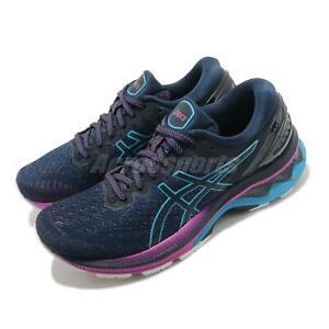 Asics Gel-Kayano 27 D Wide Navy Blue Digital Aqua Women Running 1012A713-401