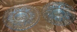 "Princess House Crystal Blue Ice 2 Sandwich Serving Plates 10"" PHC10"