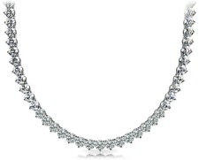 7.00 Ct Ladies Round Cut Diamond Tennis Necklace In 14 Kt White Gold