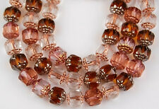 25 Cathedral Fire Polished Faceted Glass Beads Mix Pink Topaz Copper Lined 8mm