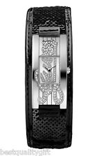 NEW GUESS BLACK SEQUIN LEATHER CUFF+CRYSTALS LOGO SILVER WATCH-W90055L1