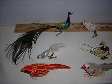 Glass GERMANY made clipon Christmas Peacock & several other rare ornaments