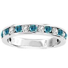 14K Ladies Blue/White Diamond Wedding Band Ring 1/2 Ct