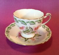 Roslyn Pedestal Teacup And Saucer - Memphis Pattern - Pink And Green - England