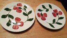 "2 Blue Ridge 7"" Bread Plates ~Hand Painted Underglaze ~Southern Potteries Inc"