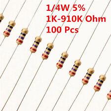 100Pcs 1/4W 0.25W Carbon Film Resistor ± 5% de 1K 910K Ω Ohm 1 K - 910 K