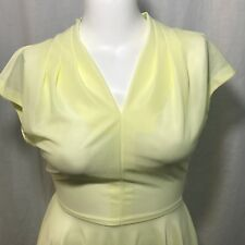 Vintage 70s Sheer Pale Yellow Polyester Fit Flare Disco Dress Size M