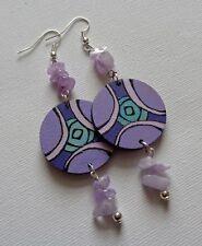Amethyst & Wood Geometric Earrings Boho Hippie Bohemian Gemstone Purple Hippy