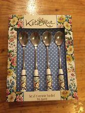 katie alice english garden Ceramic Handled Teaspoons X4