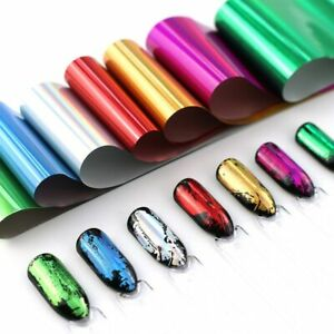 LAZER EFFECT Nail Art Foil 8 Colours Nail Decor Manicure Transfer Foils UK