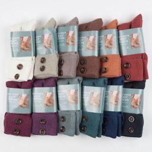 NEW Simply Noelle Women's Crew Length Boot Fold-over Button Socks Asst. Colors