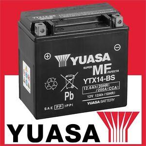 YUASA Batterie YTX14-BS Motorradbatterie Akku 12 Ah gefüllt geladen wartungsfrei