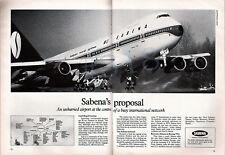 SABENA World AIRLINES ADVERT - Original 1979 Aviation Advertisement Boeing 747