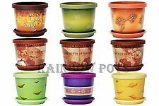 Decor Coloured Plastic Plant Pots Flower Pot Planter with Saucer Tray, Wedding