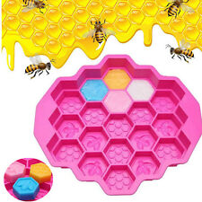 19 Cavity Silicone Bee Honeycomb Cake Chocolate Soap Candle Bakeware Mold Mould