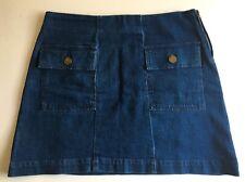 ASOS size 12 blue denim A line skirt side zip fasten front patch pockets NEW