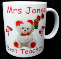 BEST TEACHER MUG.SCHOOL GIFT PERSONALISED WITH NAMES PUPILS NAME TEACHERS NAME
