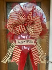 "24"" Valentine's Day Burlap Red Heart Door Wreath Deco Mesh Bow Ready To Ship!"