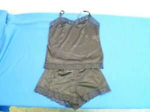 Undercover Wear Two Piece Lace Trim Nylon Cami and Short Set, Black