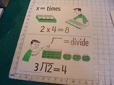vintage 1950's Instructor kindergarden number POSTER #12 multiplication divide