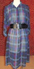 ITEMS CALIFORNIA VINTAGE 80s Navy plaid batwing sleeve shift dress S (TC1-0DH6G)