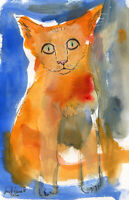 """""""Le chat Miroux"""", Digital Artprint - Carte de vœux - 18,2 cm x 11,7 cm - signée"""