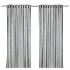 Pair of IKEA GULSPORRE Grey & White Pinstriped Lounge Curtains (250cm Long)