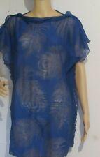 BEACH COVER UP SHORT DRESS ROYAL BLUE LIGHT SHEER FABRIC