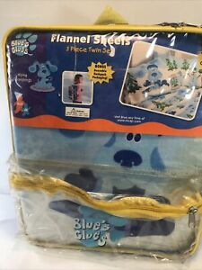 Vintage Blue's Clues 3 Piece Twin Flannel Sheet Set With Backpack New 2002 *READ