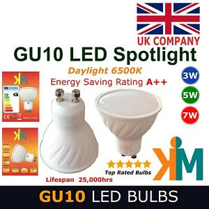 4x 6x 10x Packs of 3W 5W 7W GU10 LED Bulbs Spotlights A++ Rating Daylight 6500K