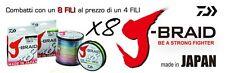 FILO TRECCIATO DAIWA J BRAID X8 D.0,28 MT 1500 MULTICOLOR