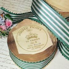 """1 3/4"""" Vtg Swiss Candy Stripe Ribbon Emerald White Picot Rayon Trim Cocard Hat"""