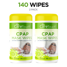 Care Touch CPAP Cleaning Mask Citrus Scent Lint Free NonWoven 70 Wipes Pack of 2