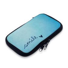 """kwmobile Neopren Tasche für M - 5,5"""" Smile Blau Sleeve Reissverschluss Cover"""
