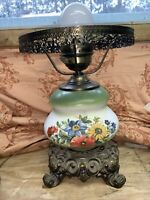 Vintage Large Gone With The Wind Green Floral Glass & Brass Electric Table Lamp